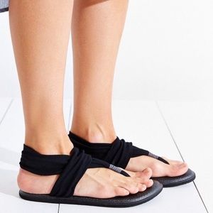 Sanuk Yoga Sling Black Minimalist Sandals Shoes 10